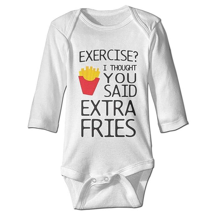 Amazon.com  XHX Baby s Exercise I Thought You Said Extra Fries Long Sleeve  Romper Onesie Bodysuit Jumpsuit  Clothing be4dbe6c7