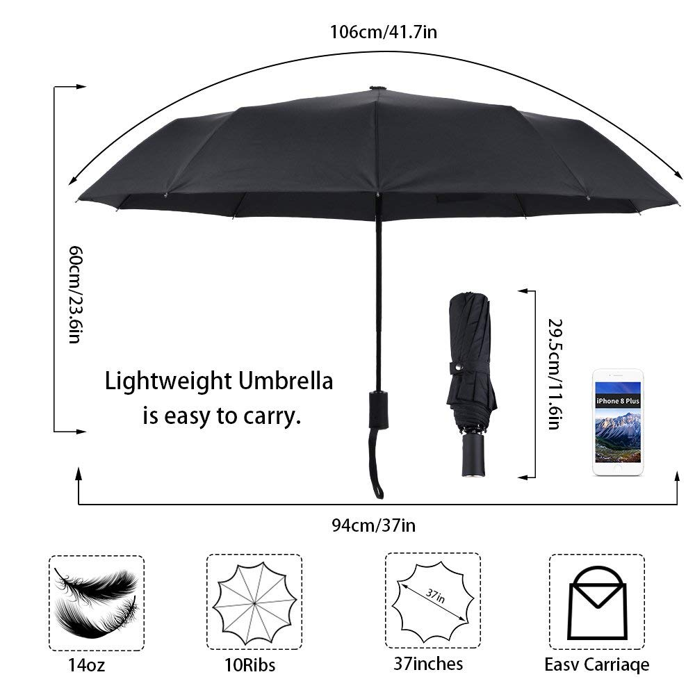Umbrella Windproof Automatic Folding Umbrella Auto Open Close for Fast Release, Rain and Sun Umbrella for Women Men and Kids