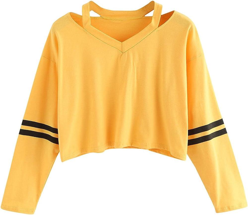 Mujer Sudaderas Cortas Adolescentes Chicas Manga Larga Sudadera con Cuello en V Casual Tops Blusas Camiseta