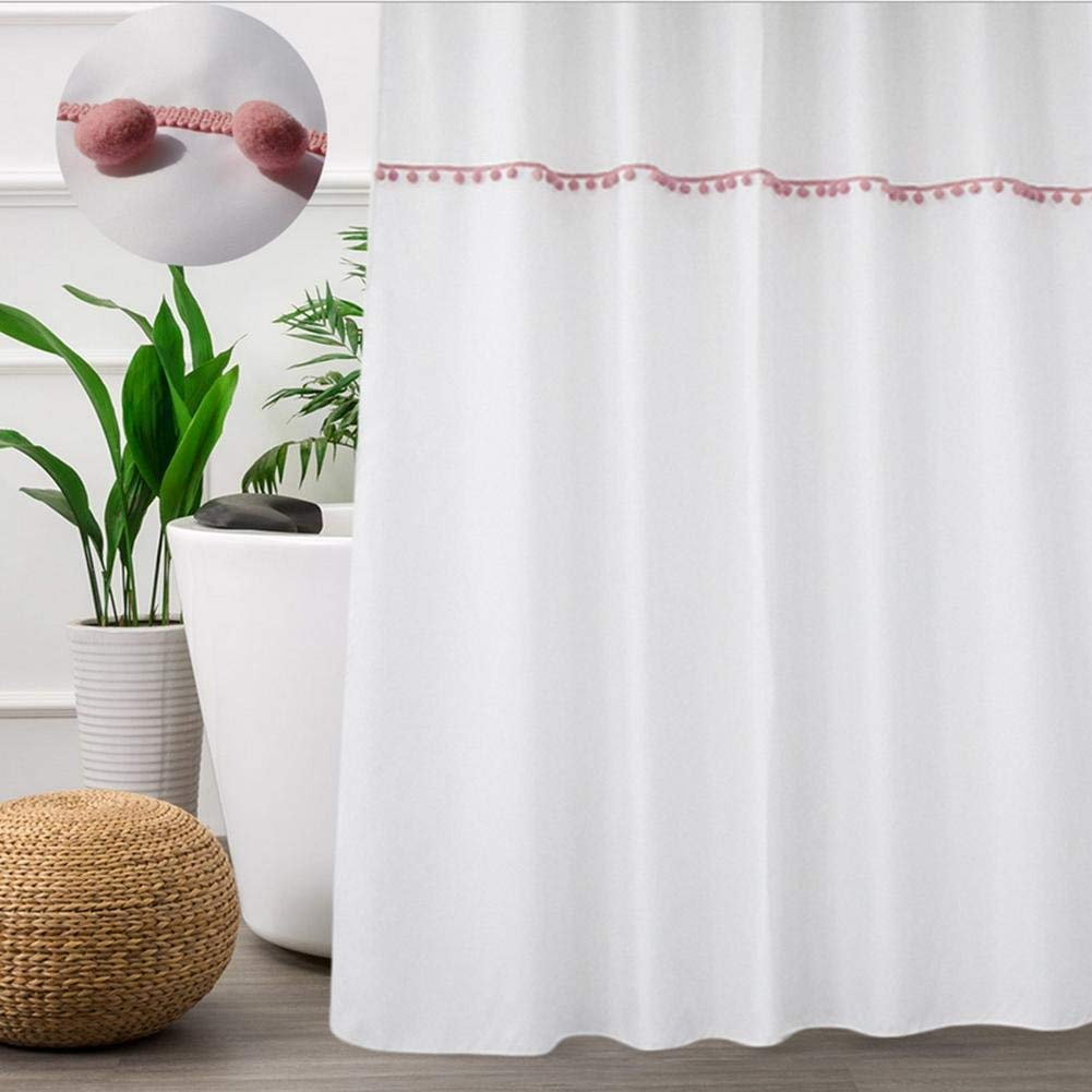 JaHGDU Shower Curtain 1pcs White Shower Curtain White 90180cm Curtains Polyester Material Mildewproof Thickened Bathroom Amenities No Deformation Does Not Fade (Color : White, Size : 180180cm)