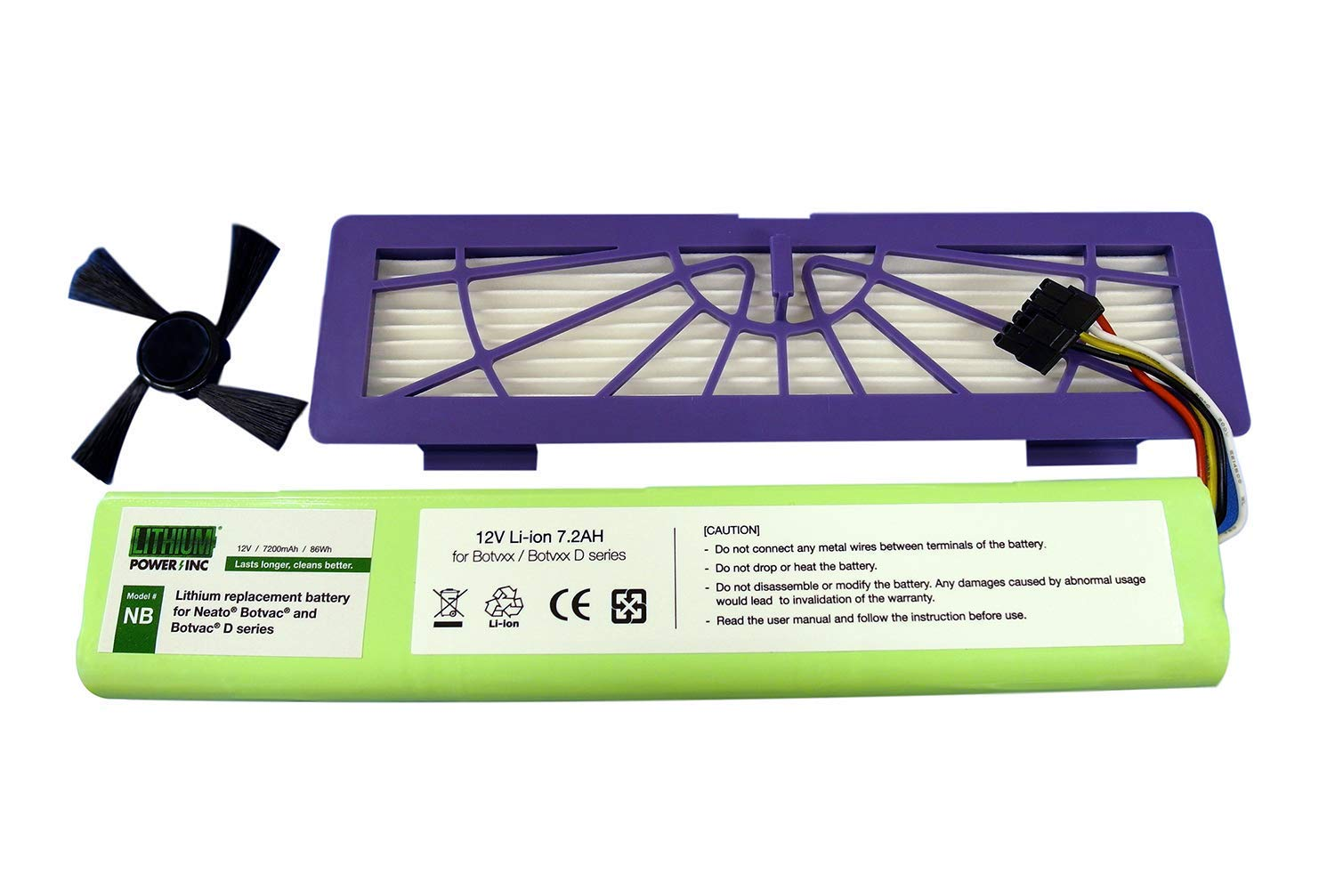 Lithium Neato Replacement Battery for Neato Botvac 70e, 75, 80, 85 and Botvac D75, D80, D85 Series, 7200mAh (Side Brush and HEPA Filter Included) - Botvac Connected Series not Supported by Lithium Power