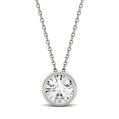 charles moissanite round necklace jewelry colvard brilliant pendant forever cut in gold dew lyst metallic
