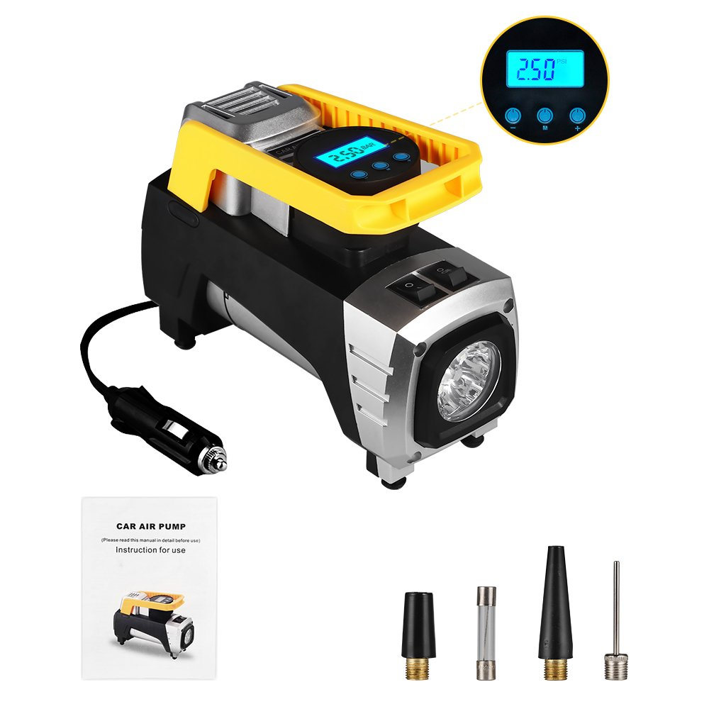 rourlinge 12V DC Portable Air Compressor Pump, 150 PSI Car Digital Display Air Pump Tire Inflator with Preset Pressure Auto Shut Off Gauge Air Pump. (Black)