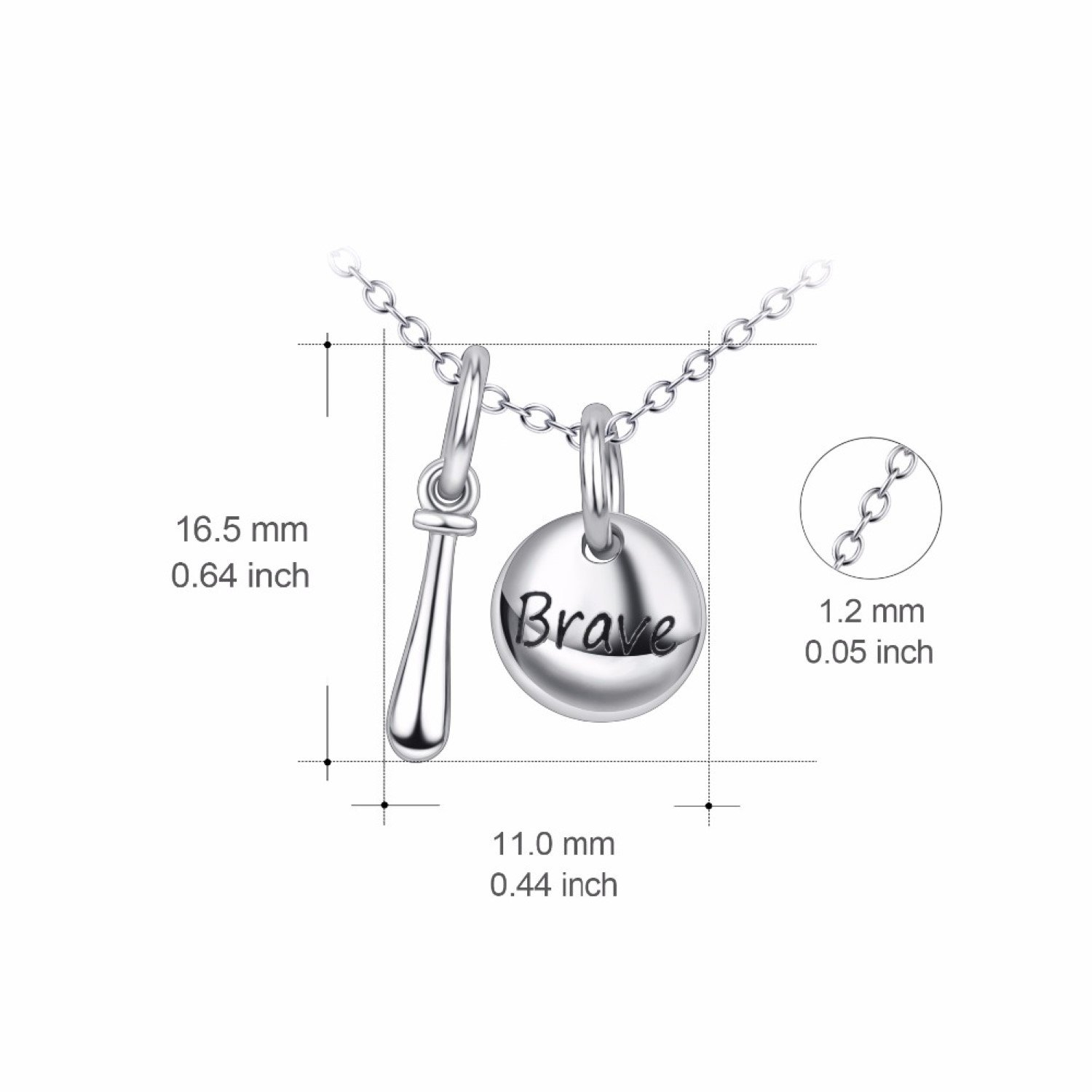 CS-DB Sport Style Baseball Top Stylish Silver Necklaces Pendants