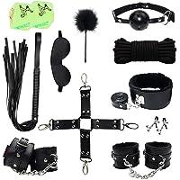 RianGor Juego de eslingas de cuero para 10 piezas Juego de esposas Juego de esparadrapos de collar para látigo con dados luminosos (negro)