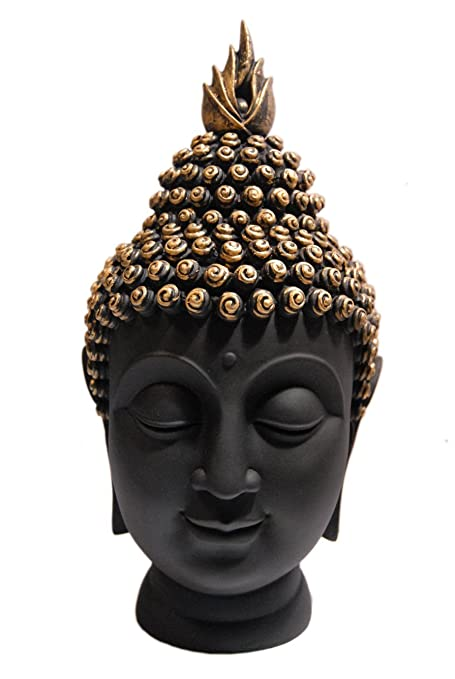 Amazon Com Buddha Head Table Statue Black Buddhist Home