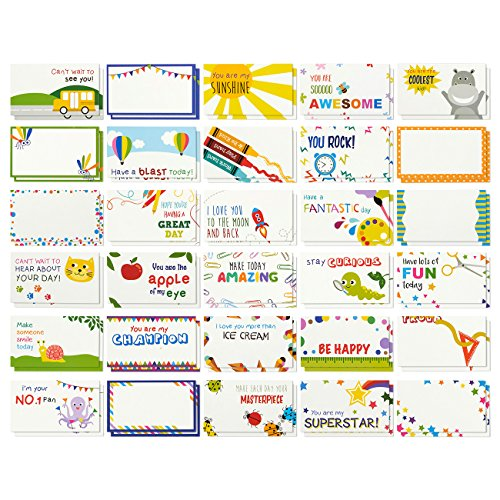 Juvale Pack of 60 Lunch Box Notes - Colorful Inspirational and Motivational Cards for Kids, 2 x 3.5 Inches -