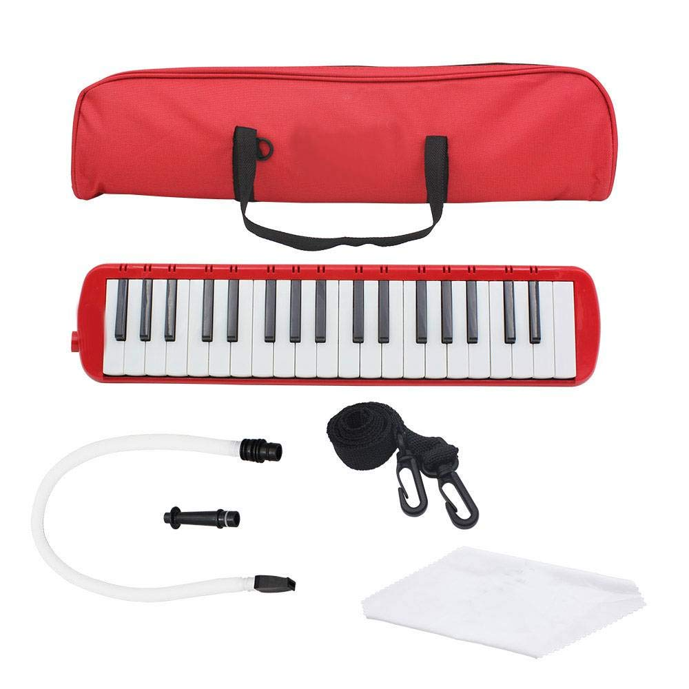 Glarry 37-Key Melodica with Mouthpiece Hose Bag Red