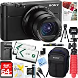 "Sony RX100 V 20.1 MP Cyber-shot Digital Camera w/ 3"" OLED DSC-RX100M5 + 64GB SDXC Memory Dual Battery Kit + Accessory Bundle"