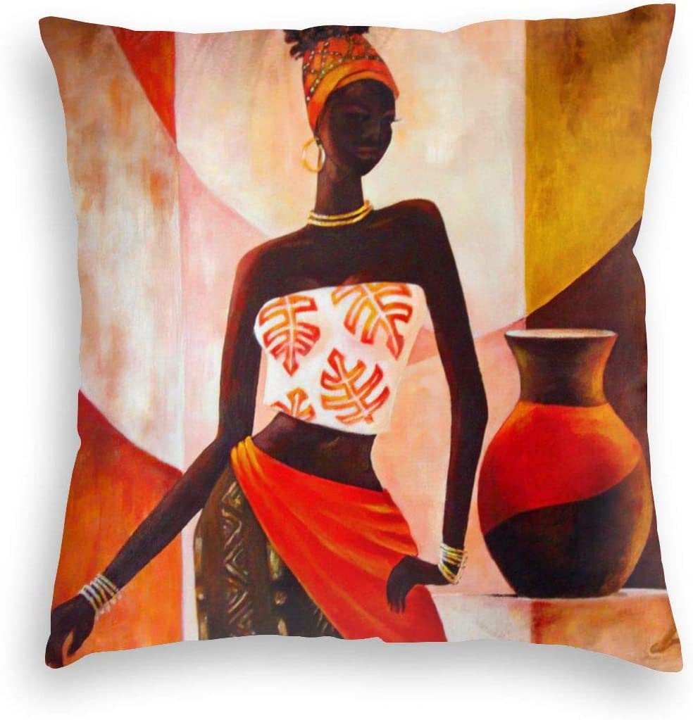 MINIOZE African Black Girl Orange Pottery Print Velvet Soft Square Pillow Covers case Home Decor Cushion Covers Decorations Gifts Pillowcase for Indoor Sofa Bedroom Car 18 X 18 Inch