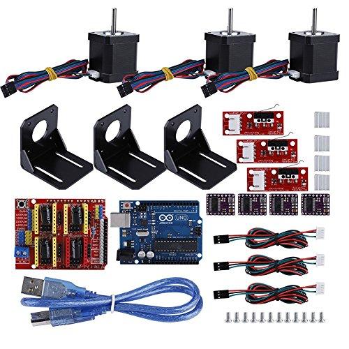 fosa Professional 3D printer CNC Kit for arduino, CNC Shield+UNO R3 Board+ Mechanical Switch Endstop+DRV8825 Stepper Motor Driver with heat sink+Nema 17 Stepper Motor+M3 Screws+Aluminum Cooler by fosa