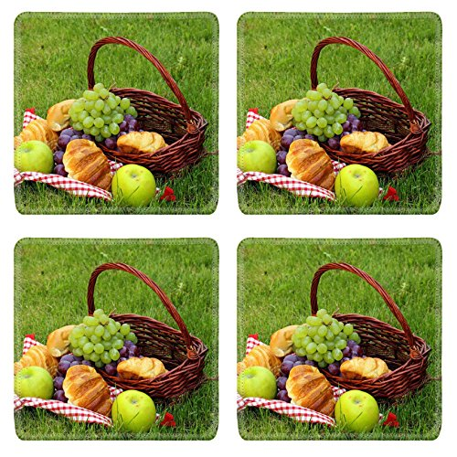 Liili Square Coasters picnic on green grass with grapes and croissants 28234423