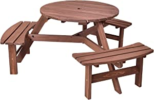Giantex 6 Person Wooden Picnic Table Set with Wood Bench, with Umbrella Hold Design, Perfect for Outdoor Garden Yard Pub Beer Dining, Dark Brown