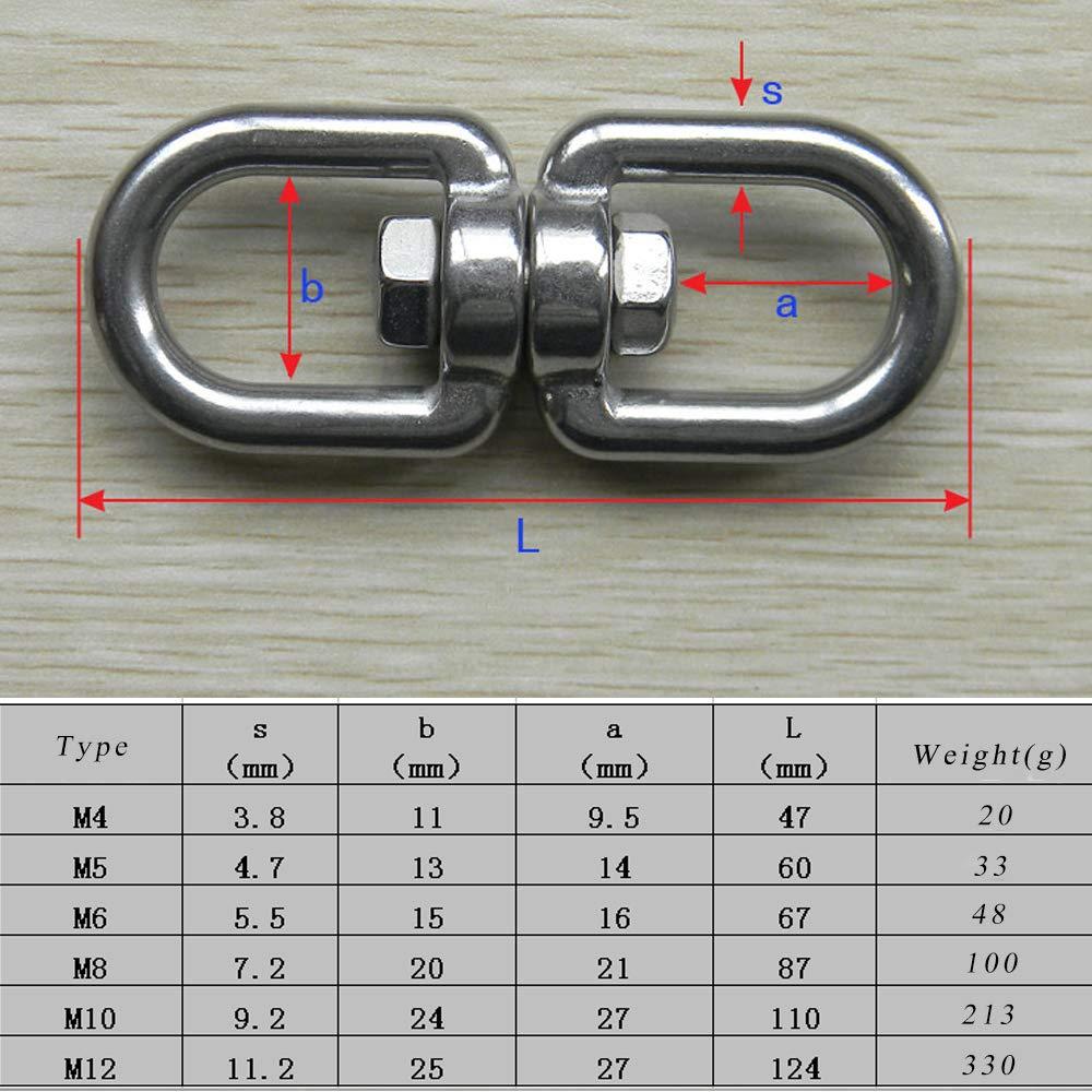 3pz doppio gancio occhio girevole in acciaio INOX 304 Eye to Eye girevole grillo connettore anello M8 Creatiees Grillo Girevole Doppio Occhiello Per Ormeggio Nautico