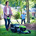 Greenworks g-max 40v 20-inch cordless 3-in-1 lawn mower with smart cut technology, (1) 4ah battery and charger included mo40l410 27 includes (1) max capacity 4 ah - 40v lithium battery , cutting heights - 5 position durable 20'' steel deck lets you mulch, bag, or side discharge allowing you to maintain your yard the way you want it. This lawn mower is not self-propelled innovative smart cut technology automatically increases the speed of the blade when more power is needed