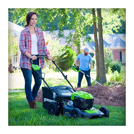 Greenworks g-max 40v 20-inch cordless 3-in-1 lawn mower with smart cut technology, (1) 4ah battery and charger included mo40l410 10 includes (1) max capacity 4 ah - 40v lithium battery , cutting heights - 5 position durable 20'' steel deck lets you mulch, bag, or side discharge allowing you to maintain your yard the way you want it. This lawn mower is not self-propelled innovative smart cut technology automatically increases the speed of the blade when more power is needed