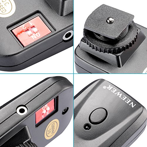Neewer 4 Channel FM Radio Wireless Flash Speedlite Trigger with 4 Receivers and a PC Sync Cord for Canon 580EX II 580EX 550EX 540EZ 520EZ 430EX 430EZ 420EX 420EZ 380EX, Nikon SB-800 SB-600 SB-28 SB-27 SB-26 SB-25 SB-24, Olympus FL-50 FL36, Pentax AF-540 FGZ AF-360 FGZ AF-400 FT AF-240 FT, Sigma EF-500 DG Super EF-500 DG ST EF-430, Sunpak Auto 2000DZ 622 Pro 433AF 433D 383 355AFm 344D 333D, Vivitar 285HV and Other Flash Units with Universal Hot Shoe
