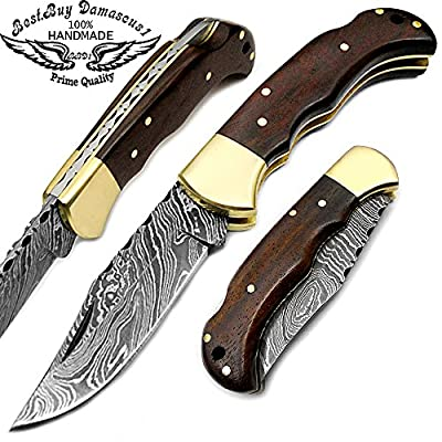 """Natural Rose Wood 6.5"""" Handmade Damascus Steel Folding Pocket Knife With Back Lock 100% Prime Quality - Premium Manufacture - Excellent Design in Damascus Steel - A Priceless Gift- Best.Buy.Damascus1"""