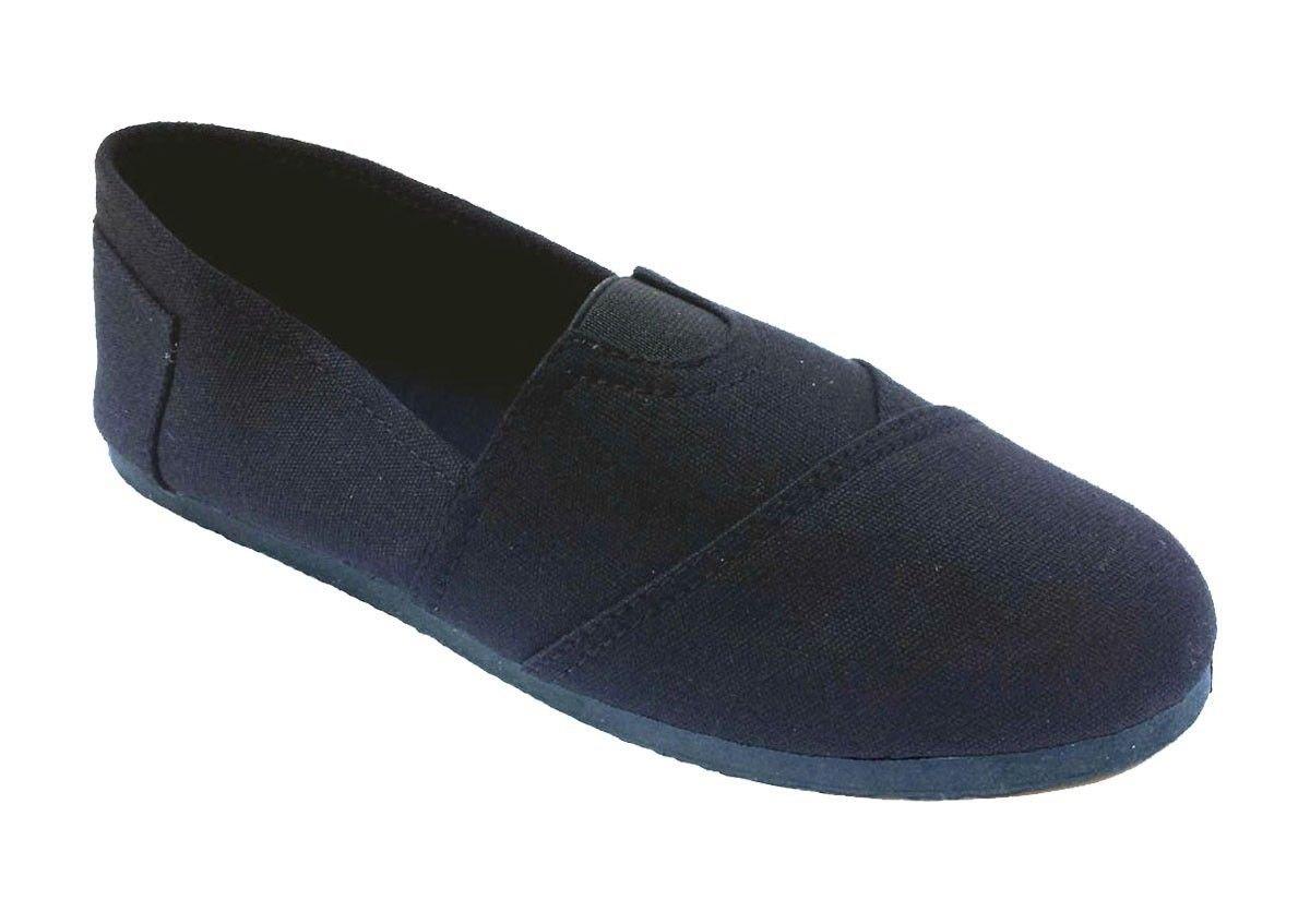 Elegant Men's Black Plain Canvas Slip-on Flat Loafer Shoes 6.5, M US