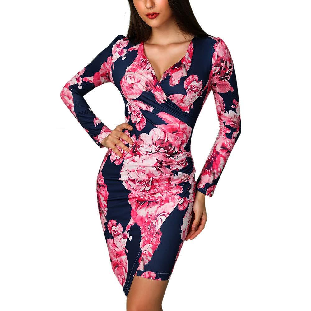 WQIANGHZI Damen Minikleid,Tief V Ausschnitt Langarm Partykleid Blumen Kleid Elegant Slim Cocktailkleider Asymmetrisch Keider Abend Kleidung