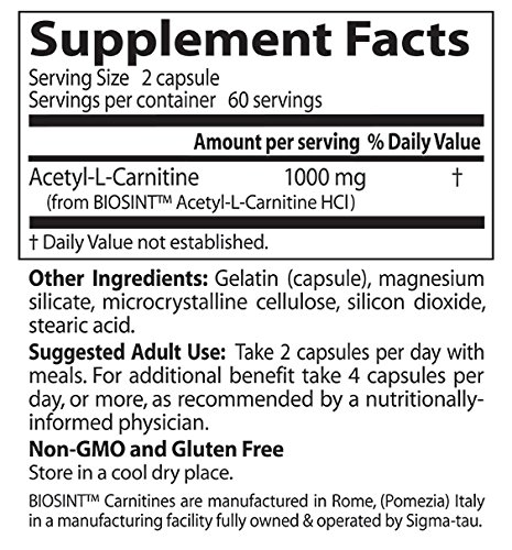 Doctor's Best Acetyl-L-Carnitine with Biosint Carnitines, Non-GMO, Vegan, Gluten Free, 500 mg 120 Veggie Caps by Doctor's Best (Image #2)