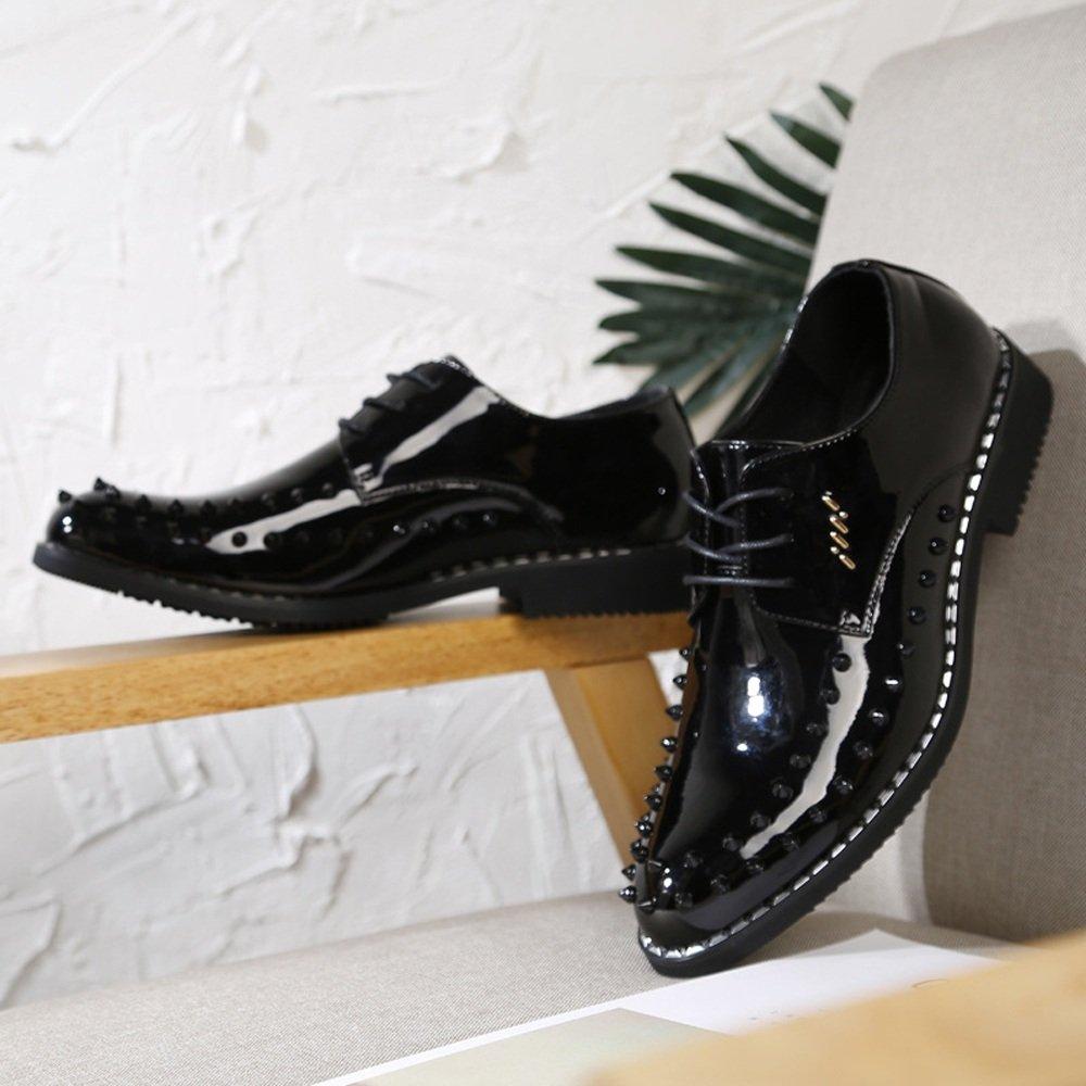 Lederschuhe Herren Lederschuhe Punk Style Schuhe Lace Glattes PU-Leder Prom Loafer Lace Schuhe up Breathed Ausgekleidet Oxfords mit Nieten schwarz 34fbc0