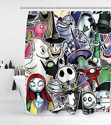 Nightmare Before Christmas Shower Curtain with 12 Hooks Jack Skellington Halloween Decor Waterproof Washable and Durable Polyester Fabric Bathroom Set Decor Sets Washable 72 x 72 inches