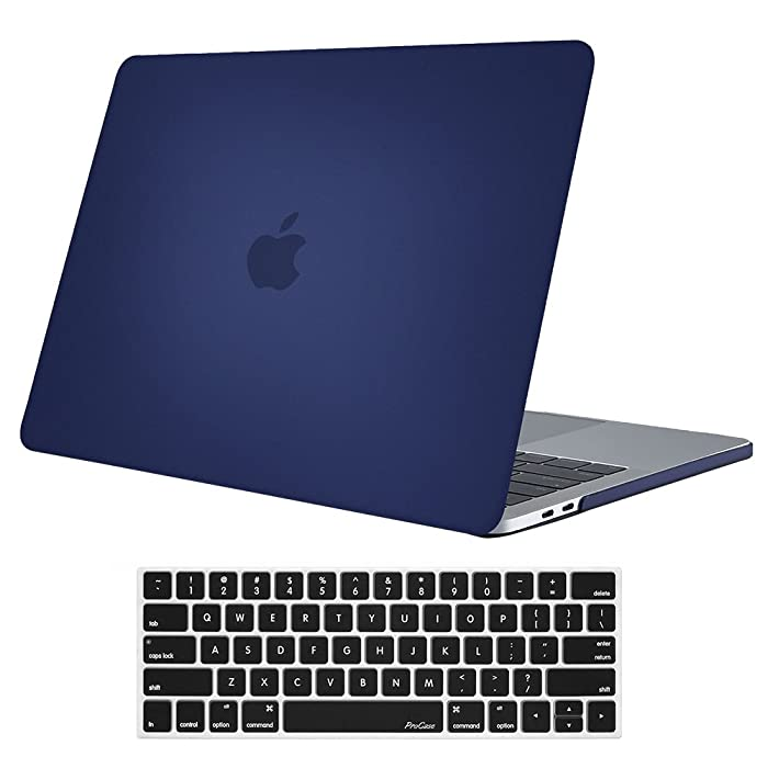 """Procase MacBook Pro 15 Case 2019 2018 2017 2016 Release A1990/A1707, Hard Case Shell Cover and Keyboard Cover for Apple MacBook Pro 15"""" (2019/2018/2017/2016) with Touch Bar and Touch ID –Darkblue"""