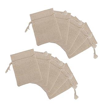 【ノーブランド品】リネン ジュート製 巾着ギフトバッグ ジュエリーポーチ 巾着袋 ギフト
