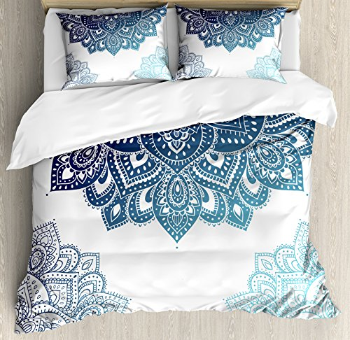 Ambesonne Henna Duvet Cover Set King Size, South Asian Mandala Design with Vibrant Color Ornamental Ethnic Illustration, Decorative 3 Piece Bedding Set with 2 Pillow Shams, Dark Blue Pale Blue