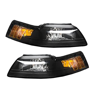 MILLION PARTS Pair Front Headlight Assembly fit for Ford Mustang 1999 2000 2001 2002 2003 2004 Left Right Side Replacement Headlamps Driving Light Black Housing Clear Lens: Automotive
