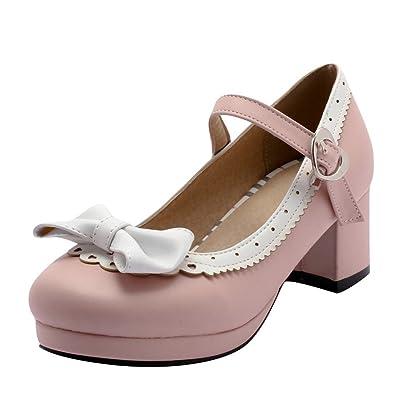 Agodor Damen Rockabilly Chunky Heels Pumps Mit Riemchen Schleife Und