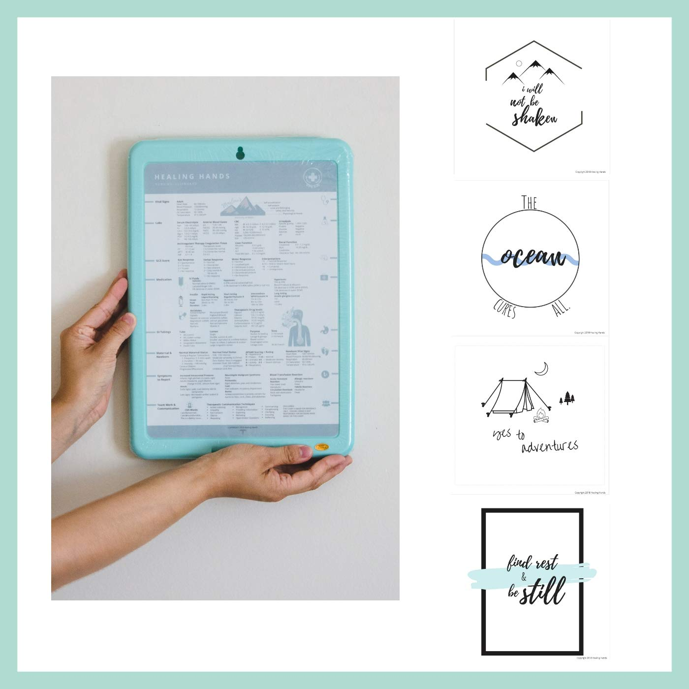 Healing Hands Nursing Clipboard with Storage (Mint)