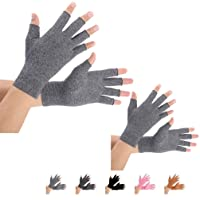 2 Pairs Arthritis Compression Gloves for Arthritis Pain Relief, Rheumatoid, Osteoarthritis and Carpal Tunnel for Men and Women, Fingerless for Typing (Gray, Medium)
