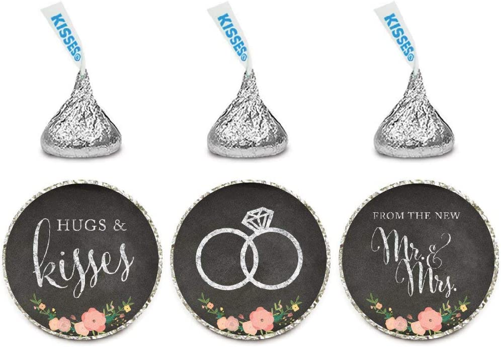 Andaz Press Chocolate Drop Labels Stickers, Wedding Hugs & Kisses from The New Mr. & Mrs, Chalkboard Floral Roses, 216-Pack, for Bridal Shower Engagement Hershey's Kisses Party Favors Decor