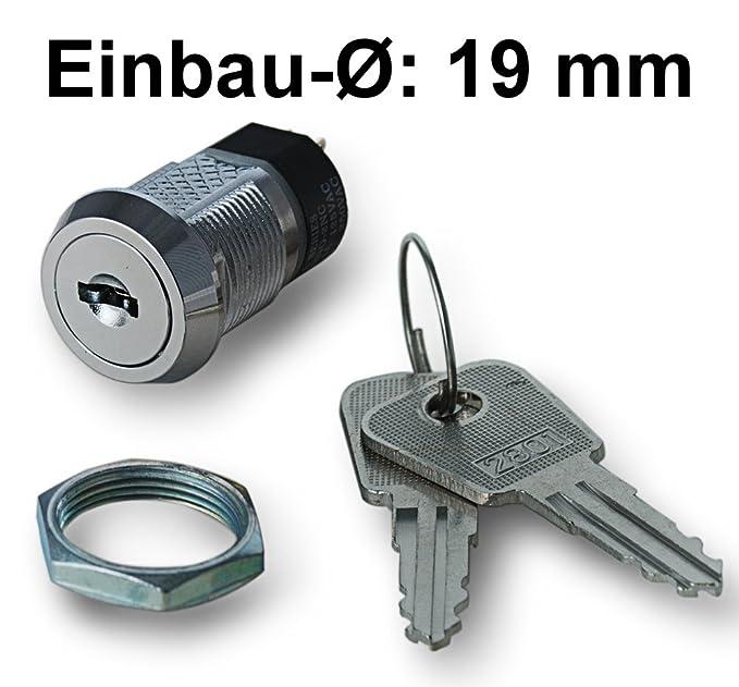 Schlüsselschalter 2x Ein 2-polig 250V 2A 125V 4A Öffner Schließer Drehschalter