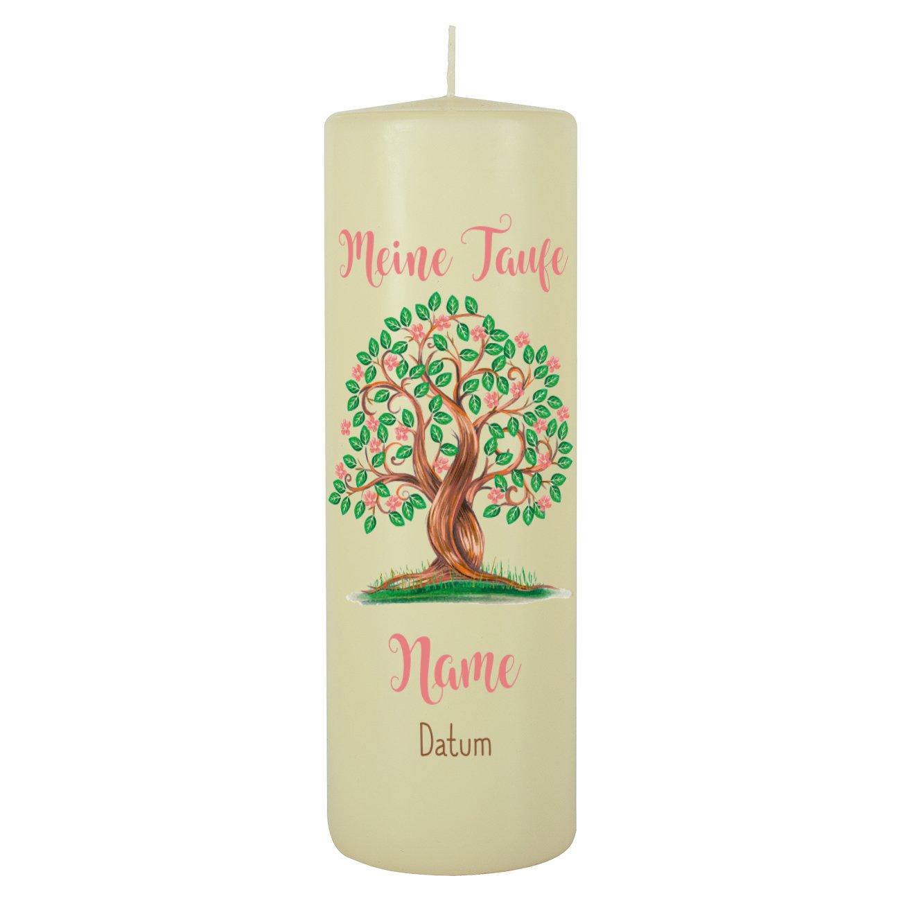 Striefchen Taufkerze für Mädchen - Motiv: Baum des Lebens - inkl. Gratis Beschriftung 250/80mm Brenndauer ca. 120 h Creme Striefchen®