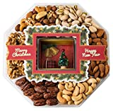 Mini Wishes Jumbo Merry Christmas Gift Baskets with Fresh Variety of Gourmet Nuts and Miniature Tree – Top Gift Idea for New Year Holiday Men Women and Family - 2 lb tray
