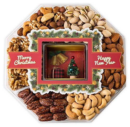 Mini Wishes Jumbo Merry Christmas Gift Baskets with Fresh Variety of Gourmet Nuts and Miniature Tree – Top Gift Idea for New Year Holiday Men Women and Family - 2 lb tray (Christmas Gift Basket Idea)