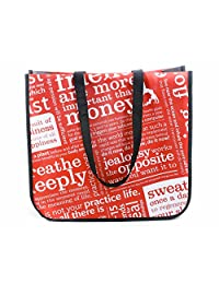 Lululemon Red with Graphic Print Large Reusable Tote Carryall Gym Bag Lot of 5