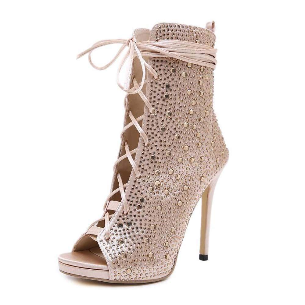 Mamrar Rheinestone Cool Stiefelies Frauen Sexy Peep Toe Cross Straps Hollow Party Dress Schuhe Roma-Schuhe Eu Größe 35-40