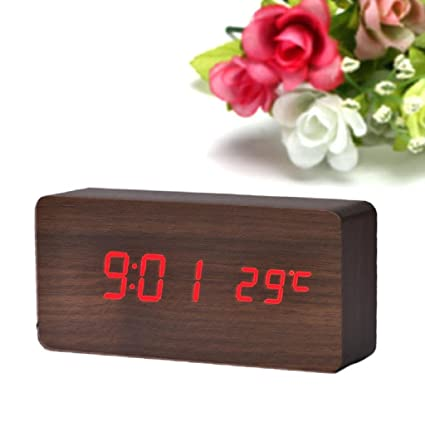 Sannysis® Temperatura Display Sounds reloj; Control electrónico de escritorio LED de alarma