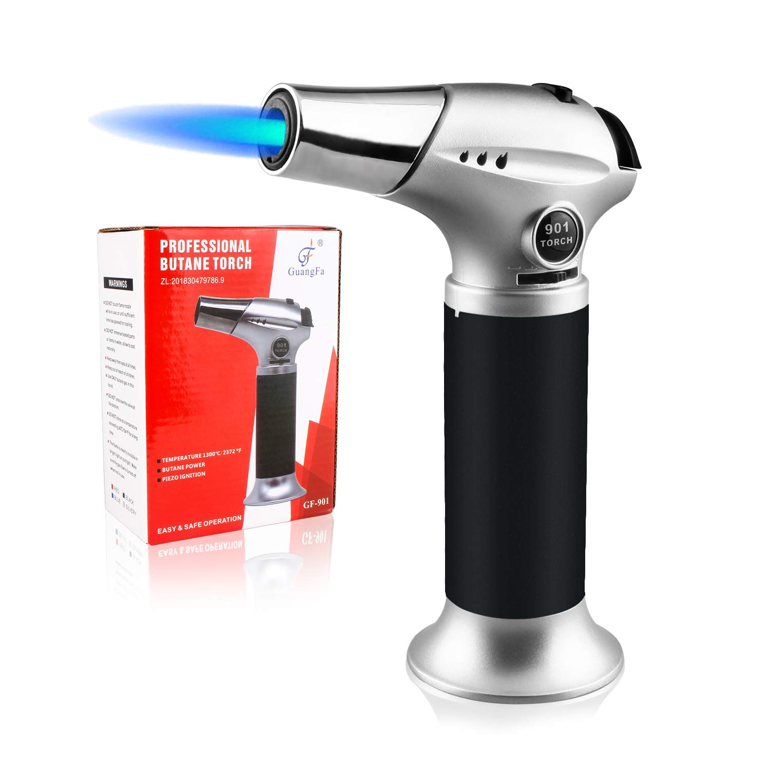 Blow Torch Lighter, Culinary Torch, Refillable Kitchen Butane Torch with Safety Lock and Adjustable Flame Perfect for DIY, Creme Brulee, BBQ and Baking, Butane Gas Not Included, Black by Sondiko (Image #1)