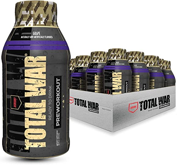 Redcon1 – Total War RTD – Ready to Drink Liquid Preworkout – Case of 12 – Amazing Flavors, Clean Energy, Caffeine, Beta Alanine, Increased Energy, Increased Focus, Increased Stamina Grape