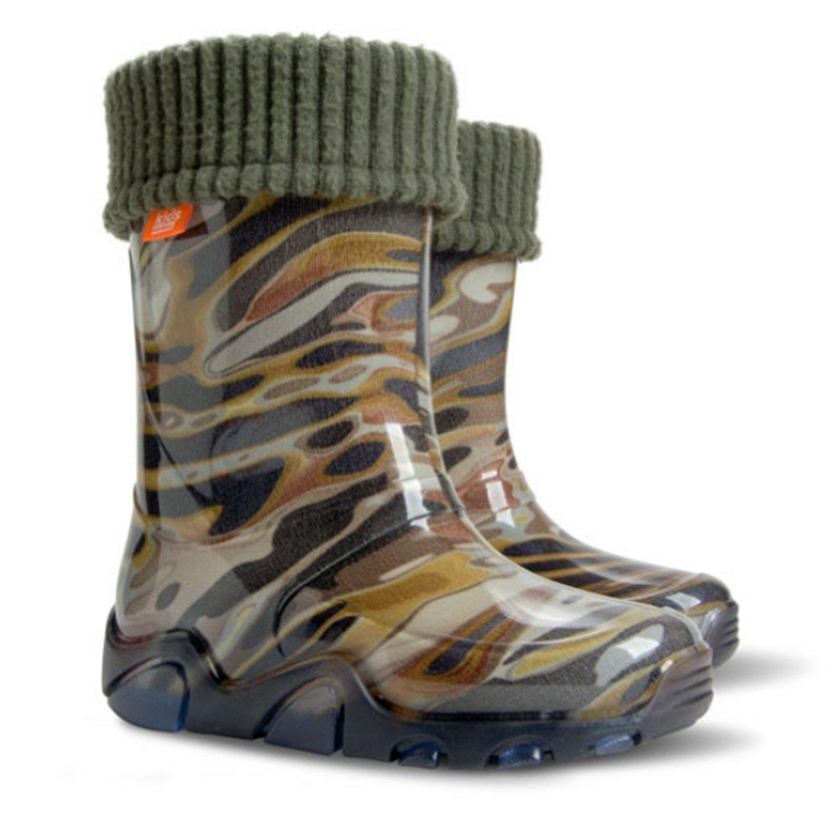 Pour enfants Bottes Bottes en caoutchouc pluie Chaussures pour enfants toutes les tailles UK/ Baby /Camo Vert UK 3-4 EU 20-21