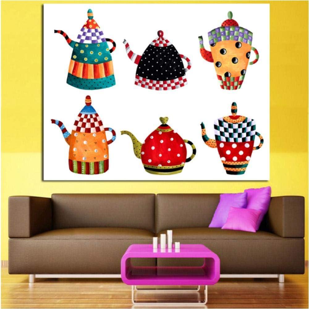 Jwqing Arte de la Lona Cocina Pintura Decorativa Todo Tipo Caldera Pintura de Dibujos Animados Pintura de la Lona Impresiones Modernas de la Pared Carteles Imagen (60x80cm Sin Marco)