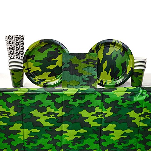 Camouflage Birthday Party Supplies Pack for 16 Guests | Straws, 16 Dinner Plates, 16 Luncheon Napkins, 16 Cups, and Table Cover | Camo Party Supplies For Military Themed Party Or -