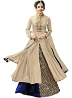 AikaCotton Fabric Embroidery Indo Western Suit For Women ( Cream_Blue )