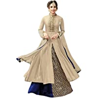 Aika Fashion Women's Cotton&Banglori Silk Semi Stitch Lehenga Choli (S013-Kesari-Cream-05_Free Size)