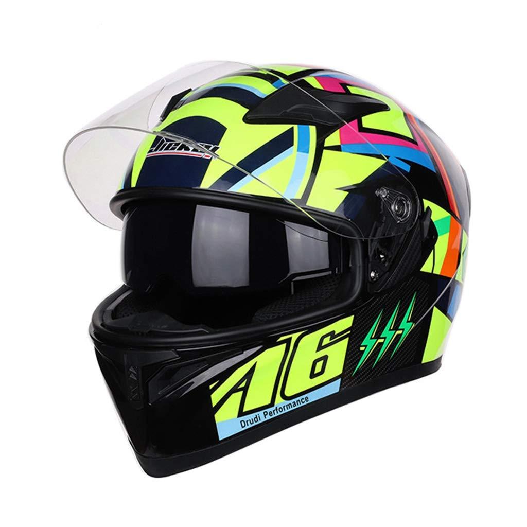 オートバイのヘルメットの機関車の男性と女性の人格涼しい冬の季節レーシングカーダブルレンズフルフェイスヘルメット防曇ミラー55-57センチメートルの頭囲A6スペースに適して (色 : Anti-fog mirror, サイズ さいず : XXl 63-64cm) XXl 63-64cm Anti-fog mirror B07KTX8D1D